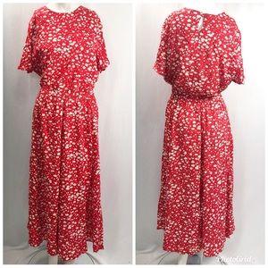 Vintage Orvis • Red Floral Maxi Dress